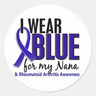 Llevo el RA azul de la artritis reumatoide de Nana Pegatinas