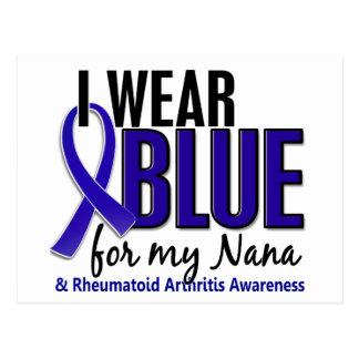 Llevo el RA azul de la artritis reumatoide de Nana Tarjetas Postales