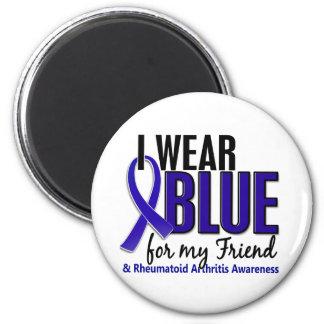 Llevo el RA azul de la artritis reumatoide del ami Imán Redondo 5 Cm