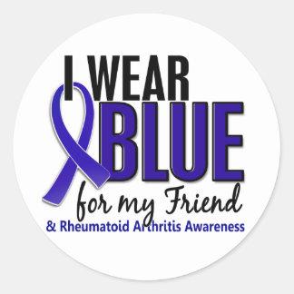 Llevo el RA azul de la artritis reumatoide del ami Pegatina Redonda