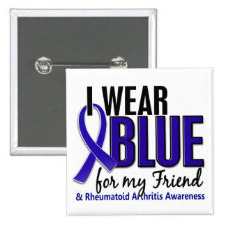 Llevo el RA azul de la artritis reumatoide del ami Pin Cuadrado
