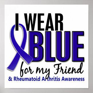 Llevo el RA azul de la artritis reumatoide del ami Póster