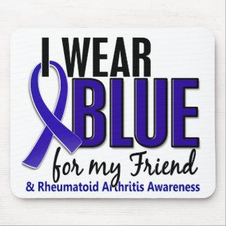 Llevo el RA azul de la artritis reumatoide del ami Alfombrillas De Raton