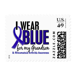 Llevo el RA azul de la artritis reumatoide del Estampilla