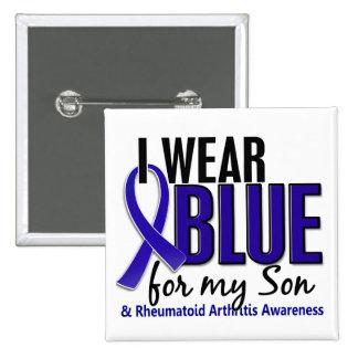Llevo el RA azul de la artritis reumatoide del hij Pin Cuadrado