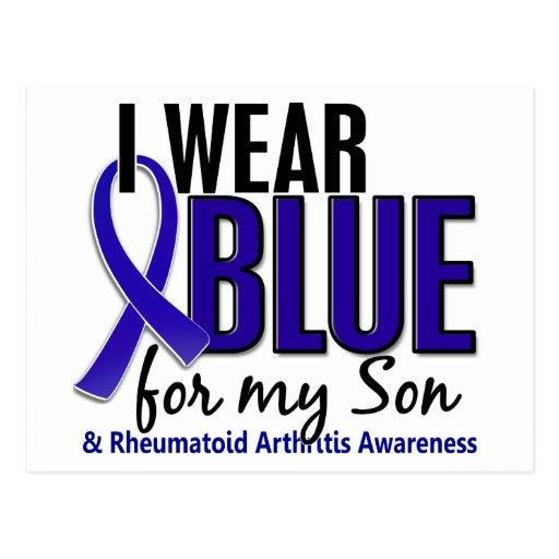 Llevo el RA azul de la artritis reumatoide del hij Tarjetas Postales