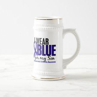Llevo el RA azul de la artritis reumatoide del hij Tazas De Café