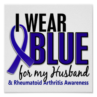 Llevo el RA azul de la artritis reumatoide del mar Posters