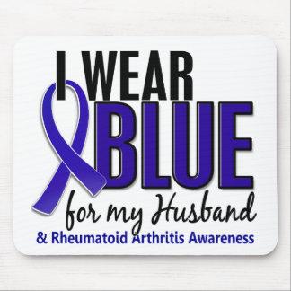 Llevo el RA azul de la artritis reumatoide del mar Alfombrillas De Raton