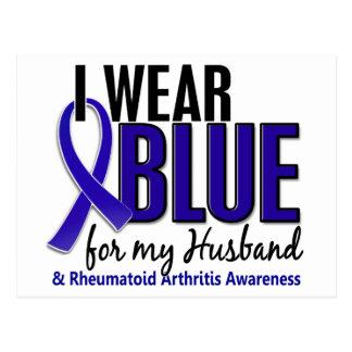 Llevo el RA azul de la artritis reumatoide del mar Tarjeta Postal