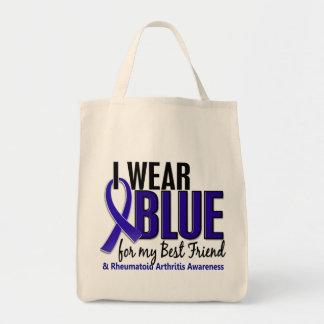 Llevo el RA azul de la artritis reumatoide del mej Bolsas De Mano