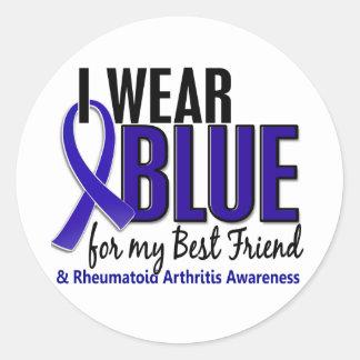 Llevo el RA azul de la artritis reumatoide del mej Pegatina Redonda