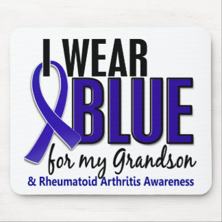 Llevo el RA azul de la artritis reumatoide del nie Tapetes De Raton