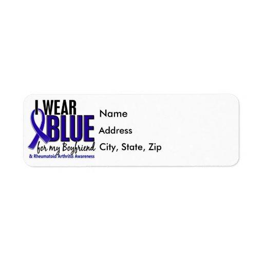 Llevo el RA azul de la artritis reumatoide del nov Etiqueta De Remite