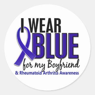 Llevo el RA azul de la artritis reumatoide del nov Pegatina