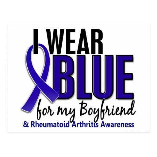 Llevo el RA azul de la artritis reumatoide del nov Postales
