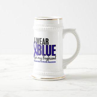 Llevo el RA azul de la artritis reumatoide del nov Jarra De Cerveza