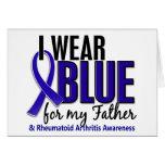 Llevo el RA azul de la artritis reumatoide del pad Felicitación