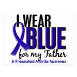 Llevo el RA azul de la artritis reumatoide del pad Postales