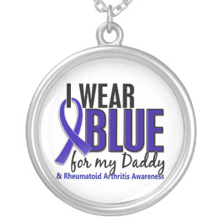 Llevo el RA azul de la artritis reumatoide del pap Colgante Redondo