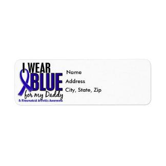 Llevo el RA azul de la artritis reumatoide del pap Etiquetas De Remite