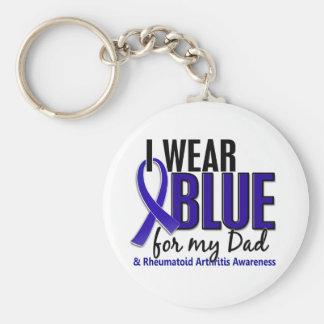 Llevo el RA azul de la artritis reumatoide del pap Llavero Personalizado