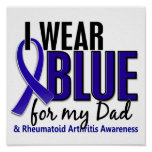 Llevo el RA azul de la artritis reumatoide del pap Poster