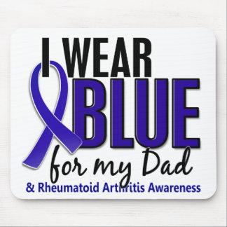 Llevo el RA azul de la artritis reumatoide del pap Alfombrillas De Ratones