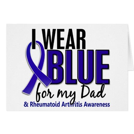 Llevo el RA azul de la artritis reumatoide del pap Tarjetón