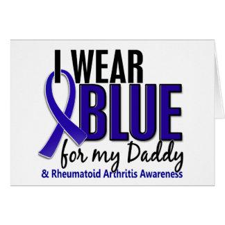 Llevo el RA azul de la artritis reumatoide del pap Tarjeta De Felicitación
