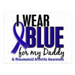 Llevo el RA azul de la artritis reumatoide del pap Tarjeta Postal