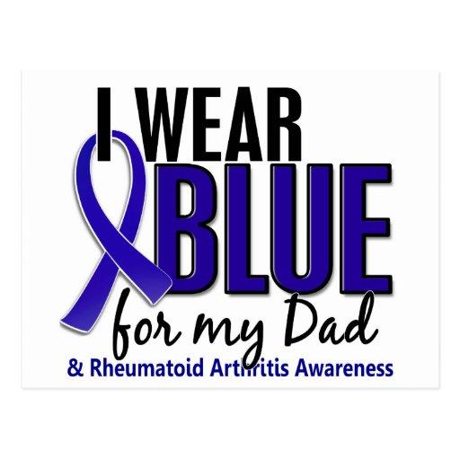 Llevo el RA azul de la artritis reumatoide del pap Tarjetas Postales