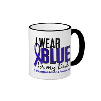 Llevo el RA azul de la artritis reumatoide del pap Tazas De Café