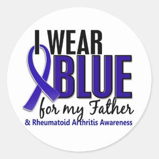 Llevo el RA azul de la artritis reumatoide del Pegatinas Redondas