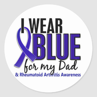 Llevo el RA azul de la artritis reumatoide del Pegatina Redonda