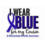 Llevo el RA azul de la artritis reumatoide del pri Tarjetas Postales