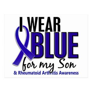 Llevo el RA azul de la artritis reumatoide del Tarjeta Postal