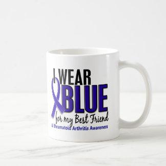 Llevo el RA azul de la artritis reumatoide del Taza Básica Blanca