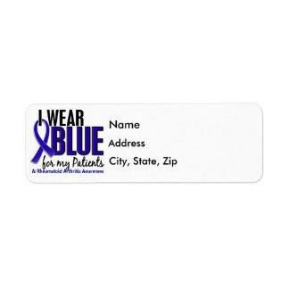 Llevo el RA azul de la artritis reumatoide Patient Etiquetas De Remite