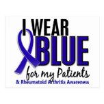Llevo el RA azul de la artritis reumatoide Patient Tarjetas Postales
