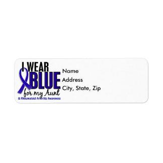 Llevo el RA azul de la tía artritis reumatoide Etiqueta De Remite