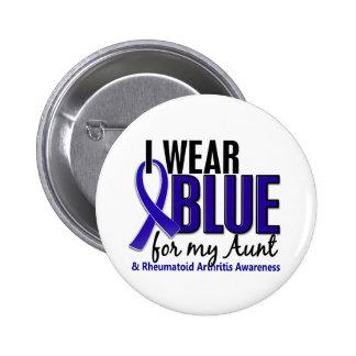 Llevo el RA azul de la tía artritis reumatoide Pin Redondo De 2 Pulgadas
