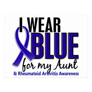 Llevo el RA azul de la tía artritis reumatoide Tarjeta Postal