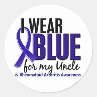 Llevo el RA azul del tío artritis reumatoide Etiqueta Redonda