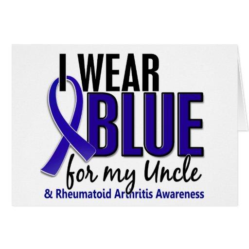 Llevo el RA azul del tío artritis reumatoide Felicitación