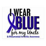 Llevo el RA azul del tío artritis reumatoide Postales