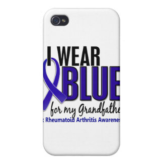 Llevo el RA de abuelo azul de la artritis reumatoi iPhone 4 Carcasas