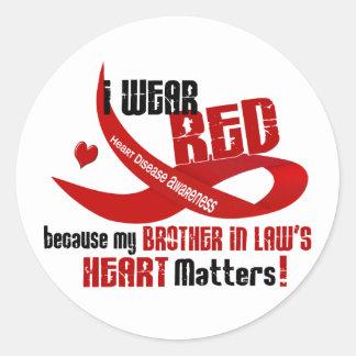 Llevo el rojo para el corazón 33 de mi cuñado pegatina redonda