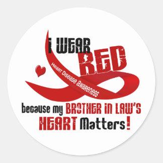 Llevo el rojo para el corazón 33 de mi cuñado etiquetas redondas