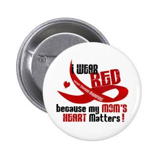 Llevo el rojo para el corazón 33 de mi mamá pins